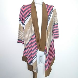 Pink, Blue & Tan Asymmetrical Cardigan